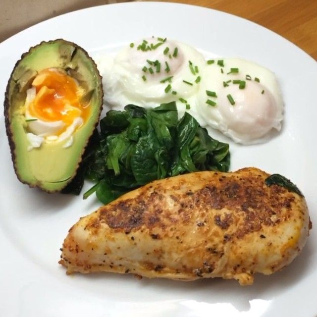 The Body Coach:ry this Super fast super lean breakfast packed with healthy fats and proteins to fuel your day! This took me 9 minutes to make! That's what I call #fitness #Food #leanin15 #avocado #eggs #chicken #spinach #chives @Lucy Bee oil #teamlean2014 #foodie #90daysssplan #thebodycoach #fitfam #fitspo #nutrition