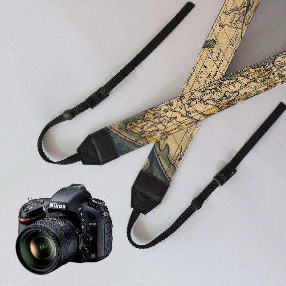 Correa de la cámara - mapa del mundo, única dslr cámara correa, correa de la Cámara Digital SLR, cámara personalizada correa, correa de la cámara nikon, correa de la cámara canon