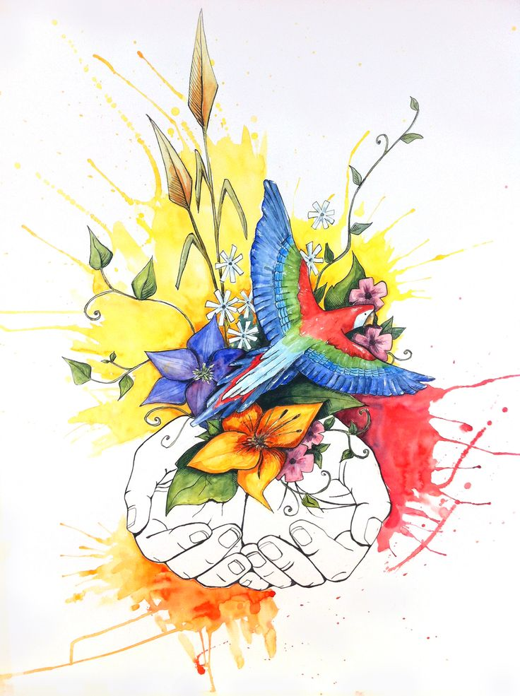 """Title """"All in your hands"""" Watercolour and ink"""