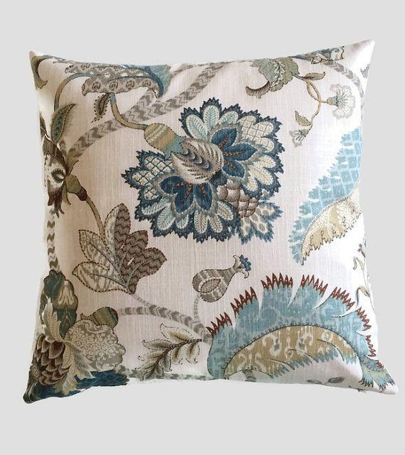 Jacobean Pillow Teal Navy Blue Tan Brown by MarolizanaDesigns
