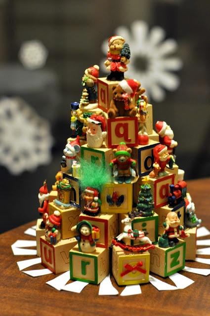 letter block christmas tree}