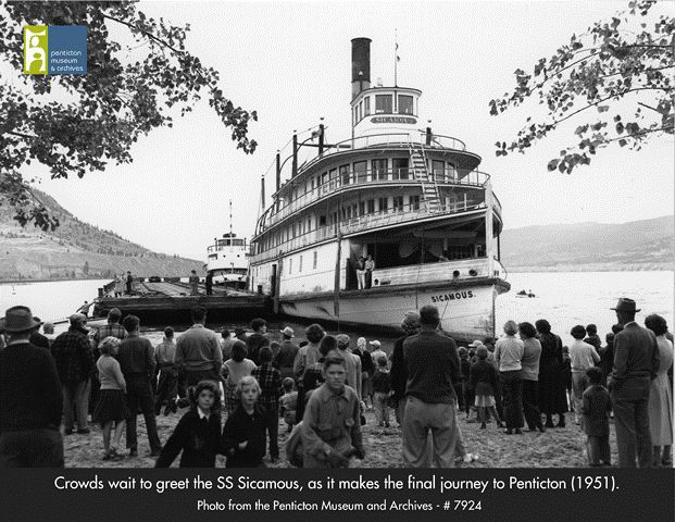 The SS Sicamous as she arrives in Penticton, this marks the end of her final journey on Okanagan Lake. The ship was pushed towards Penticton by the MV Okanagan - August 1951. Photo from the Penticton Museum and Archives.
