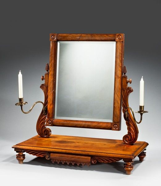 Regency Period Mahogany Dressing Mirror (c. 1820 England) .