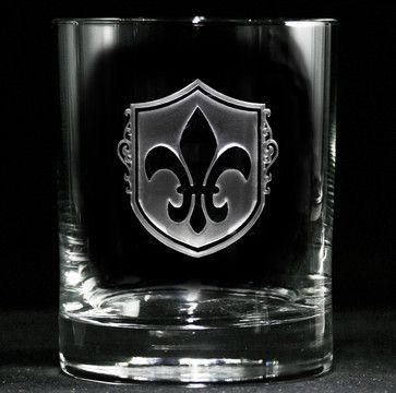 Fleur De Lis Rocks Glasses, Whiskey, Scotch, Bourbon Set of 4 traditional-barware