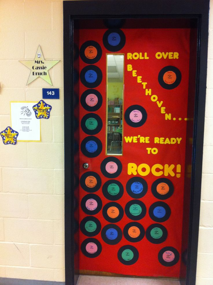 Roll over beethoven we 39 re ready to rock classroom door for Above door decoration
