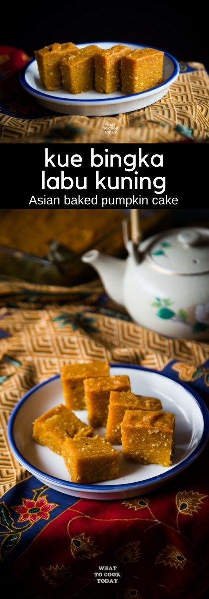 Kue Bingka Labu Kuning / Asian Baked Pumpkin Cake. Inspired by the traditional Kue Bingka Ubi, I added pumpkin and grated coconut in the recipe and the result is so good and it's naturally gluten-free too