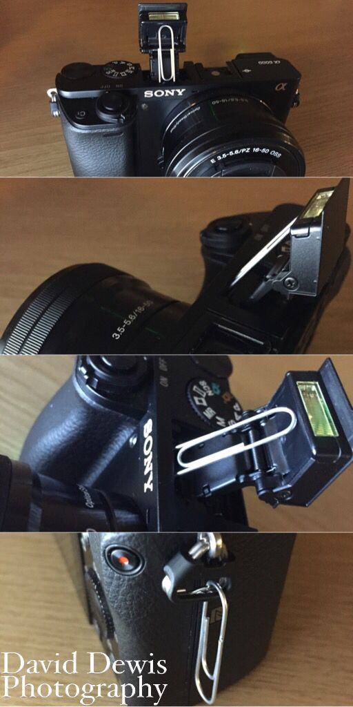 Sony A6000 hack. Simple paperclip used to pin the built in flash in an upwards bounce position. Paperclip can then be stored easily on the side when not needed. Simple! Daviddewisphotography.co.uk Facebook.com/daviddewisphotography