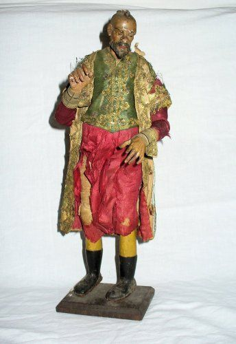 Ancien rare grande santon Napolitain de crèche, XVIIIe bois sculpté - Art sacré, objets religieux Style Louis XV
