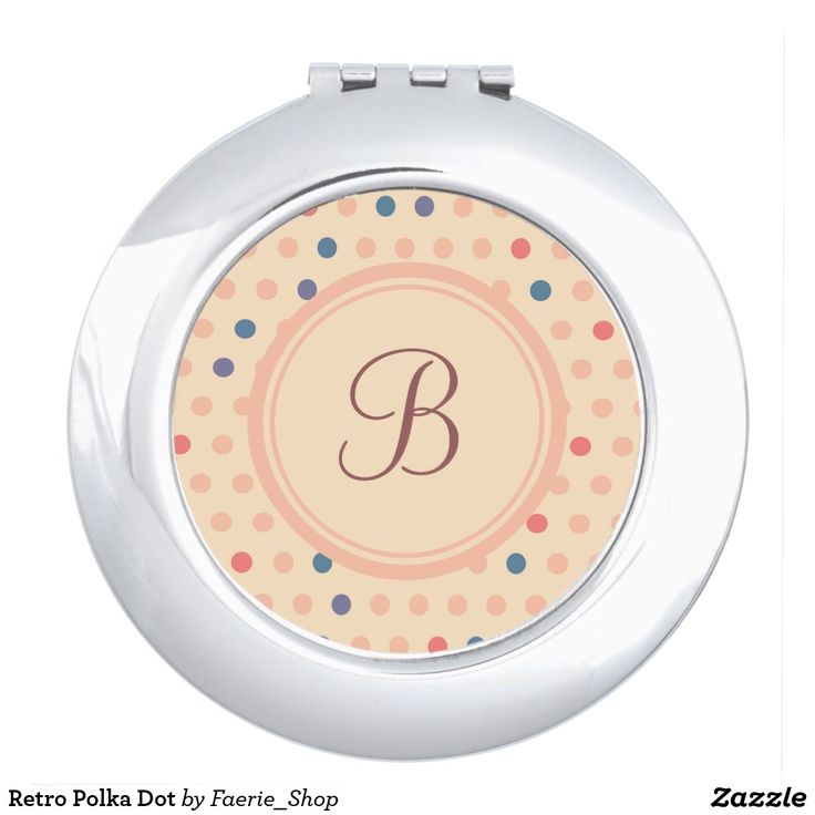Retro Polka Dot Makeup Mirror #faerieshop #vintage #circle #polka #dot #trendy #pattern #retro #monogram #geometric #monogram #style #simple #abstract #old #design #beige #peach #red #blue #beautiful #fashion #modern #print #background #sale #zazzle #monogram #edit #customizable #gift #present #mirror