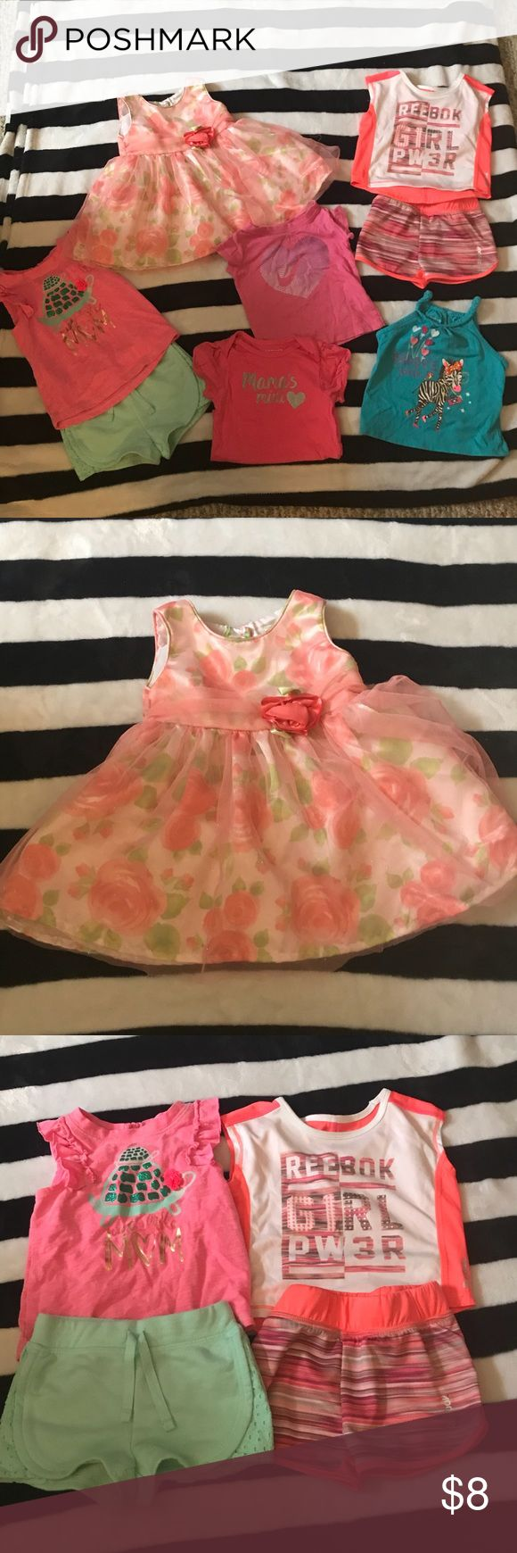 🌸 12 Month Girls Bundle! 8 Pieces! 🌸 Beautiful Peach Dress (12 Months)  Pink Turtle Outfit (12 Months) All 3 Tees (12 Months) Reebok Outfit (12 Months)  8 Pieces for $8!! Matching Sets