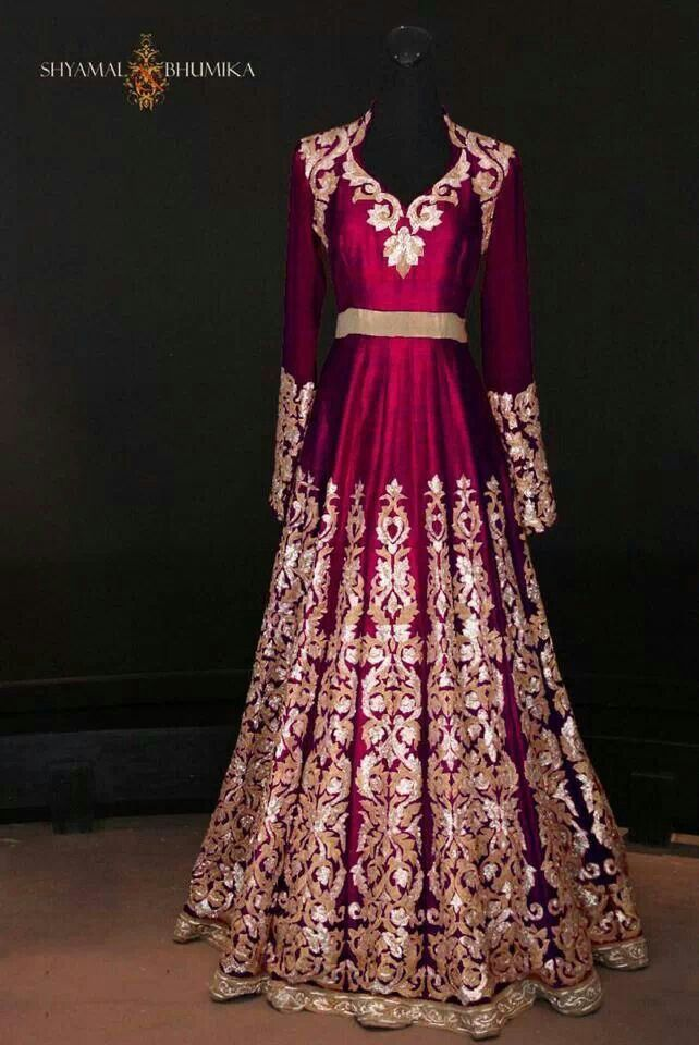 Red floor length bridal anarkali