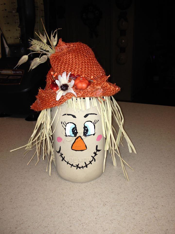 Mason Jar scarecrow  Harvest decorating ideas  Halloween mason jars Mason jar diy Fall mason