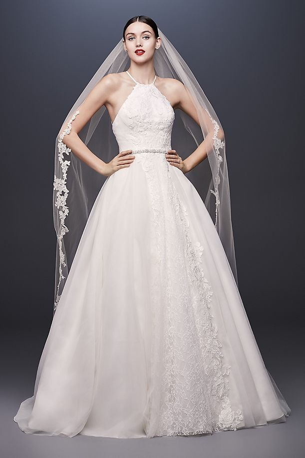 Halter Tie Tulle Ball Gown Wedding Dress With Lace Davids Bridal