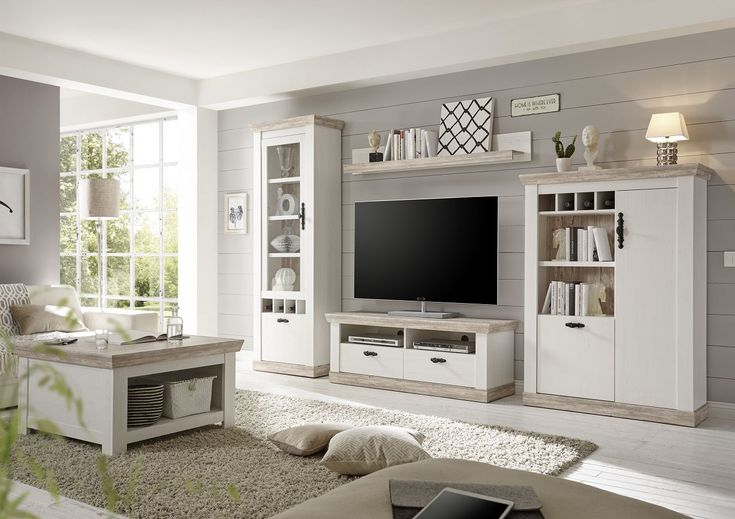 "Wall unit ""Kiruna III"" 4 pcs. Set, Showcase, Lowboard, Highboard, Wallboard, Pine White, 357x170x38-45"