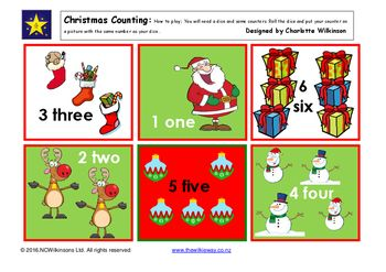 A Wilkie Way dice and counter game for counting and matching to six and learning to recognise the numeral and the word for the numbers to six all on a Christmas theme.Great for a Christmas gift to take home and play.