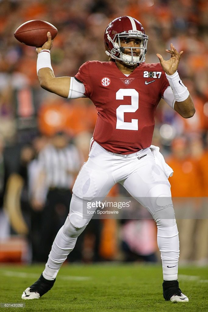 Alabama Crimson Tide quarterback Jalen Hurts (2) throws a pass during the College Football Playoff National Championship game between the Alabama Crimson Tide and the Clemson Tigers on January 9, 2017, at Raymond James Stadium in Tampa, FL. Clemson won the game 35-31.