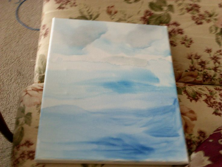watercolour canvas inspired by a sunday drive where the clouds met the ocean