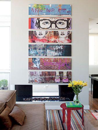 panorama photos of graffiti art placed on canvas.