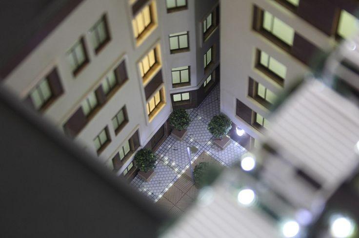 "The architectural model of the residential complex ""New Holland"". On the photo: the illuminated courtyard. Макет жилого комплекса ""Новая Голландия"". На фото: подсвеченный двор."
