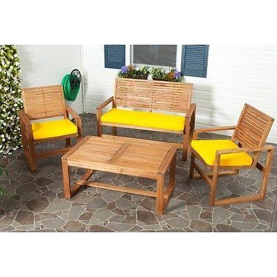 Brown-Wood-4-Pcs-Outdoor-Garden-Pool-Deck-Patio-Porch-Furniture-Conversation-Set