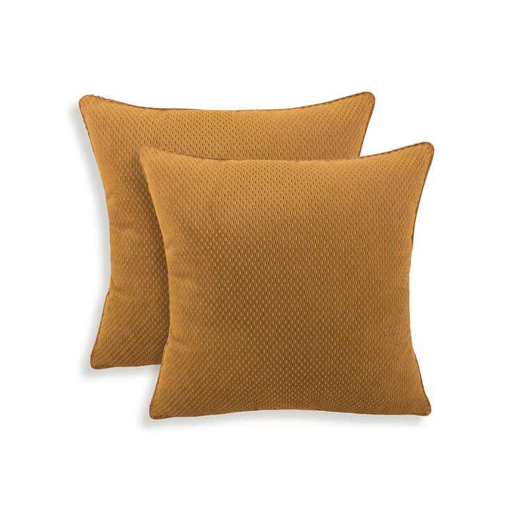 Convex 2-piece Textured Woven Throw Pillow Set, Brown