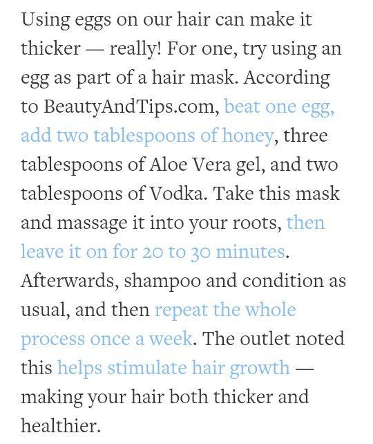 Hair thickening recipe