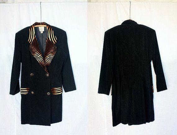1980's Black Dress Tiger Print Trim Culottes Divided Skirt
