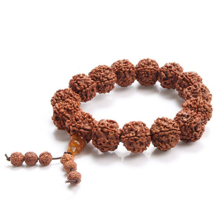 2016 Five-flap Rudraksha Handmade Tibetan Prayer Meditation Beads Bracelet Men Vintage Charm Bracelets Bangles Jewelry