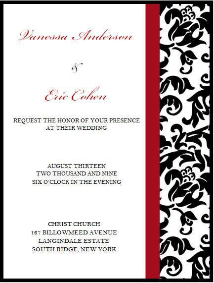 elegant blackred and white wedding invitation by amy leiter