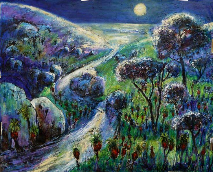 Moonlight oil on canvas 100 x 120 cms by Jeremy Holton A moonlit view of the Darling Ranges escarpment.  #painting #jeremyholton #landscape #Perth #Australia jeremyholton.com thailand-painting-holidays.com https://plus.google.com/u/0/104359568476968412848?rel=author