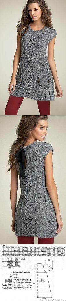 Платье-туника спицами с рельефными узорами.