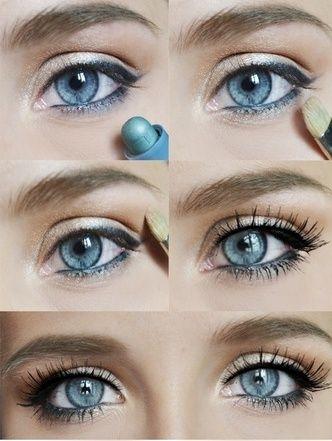 12 bellissimi look e tutorial per il trucco degli occhi blu e dorato