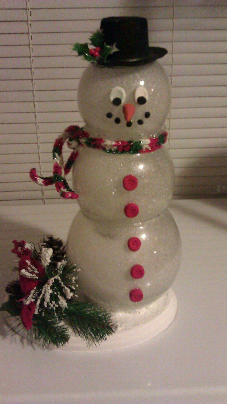 Snowman christmas crafts pinterest snow glasses and - Decoracion navidena diy ...