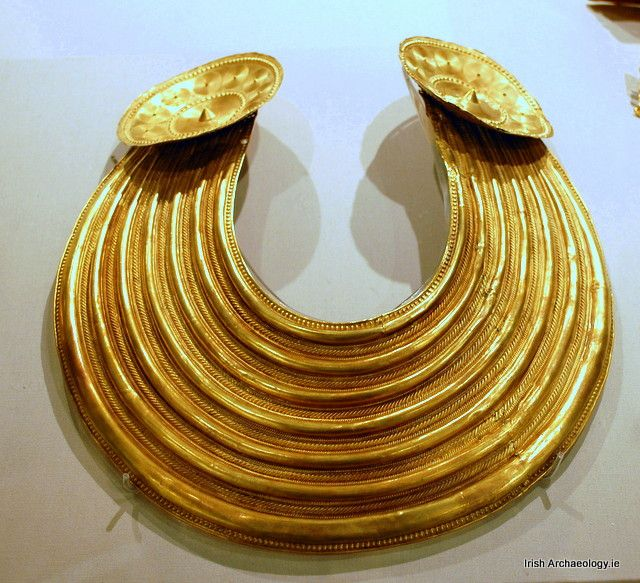 A Late Bronze Age gold collar from Gleninsheen, Co. Clare, it dates from c. 900-700 BC