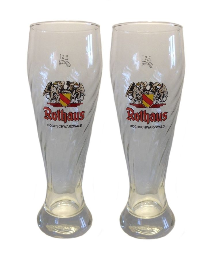 Rothaus (Black Forest) - 2 German Beer Glasses 0.5 Litre - Weizen - NEW