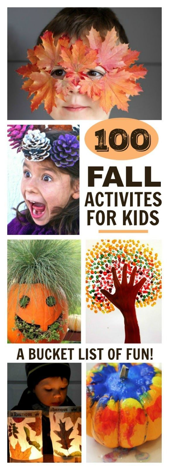 Fall Activities for Kids! A great bucket list for kids and the whole family to enjoy! Make leaf lanterns,hairy pumpkin planters and pine cone crowns and more!