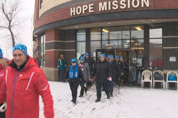 Over 100 people set out into the cold Saturday evening to take part in the Hope Mission's Cold Hands, Warm Hearts fundraiser.