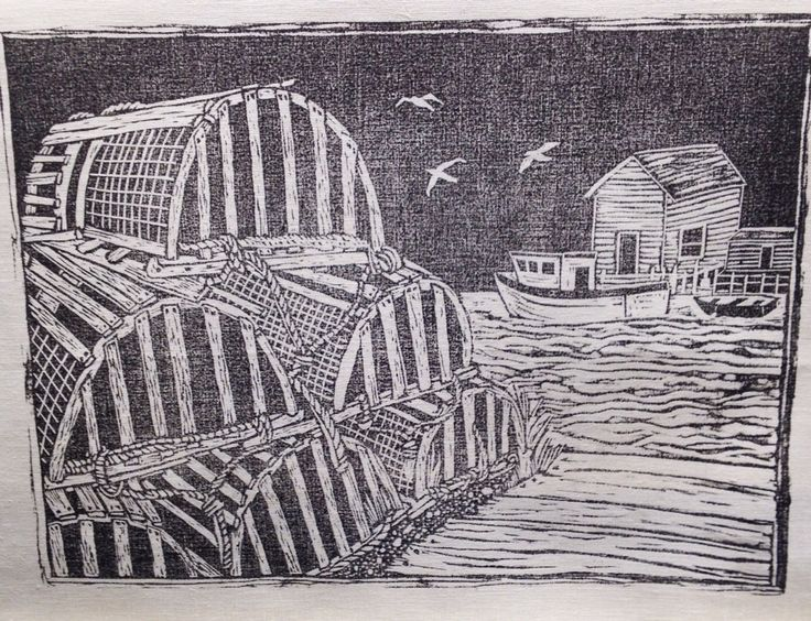 Lobster pots  Linoleum cut Tea towel #brindylinens #blockprint #teatowel #hemp #cotton #printed #treatyoself #newfoundland