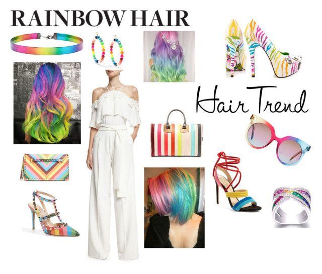 rainbow hair by peekabu00123 on Polyvore featuring polyvore fashion style Josie Natori Alexandre Birman Valentino TaylorSays Sophie Hulme Venessa Arizaga Forever 21 MCM clothing