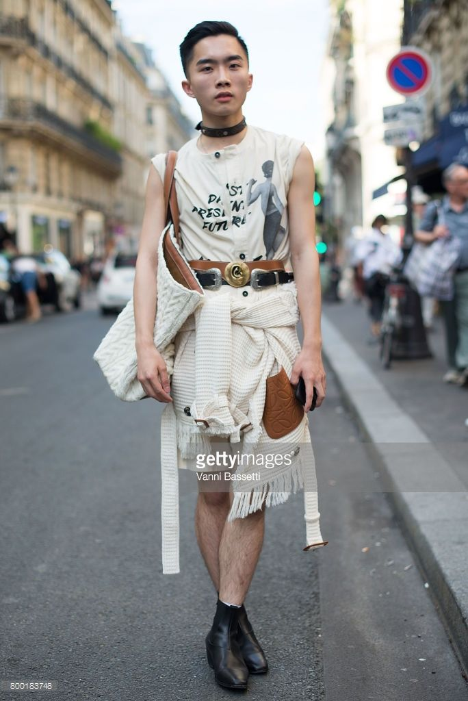 A guest poses wearing Loewe after the Namacheko show at the Cloitre des Billetes during Paris Fashion Week Menswear SS18 on June 23, 2017 in Paris, France | Jocelyn Yih wears Loewe Autumn Winter 2017 Cream T Shopper XXL Bag, Romper, Belt, Loewe Spring Summer 2017 Calico Double Breasted Jacket, Louis Vuitton choker and Sandro boots | Photo by Vanni Bassetti for Getty Images