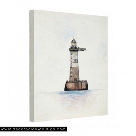 Cuadro Faro AR-MEN Pequeño cuadro marinero representando el faro marino AR-MEN. Reproducción de una pintura al óleo imprimido sobre una tela de algodón y montado sobre un bastidor de madera.    Medidas: Alto:18.00 x Largo:13.00 x Ancho:1.80 cm.   Peso: 0.07 Kgs.