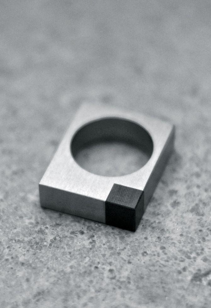 Alexey Cherkasov | Titanium Minimalist Square Ring **********Pinned by ihavelynchsyndrome.com