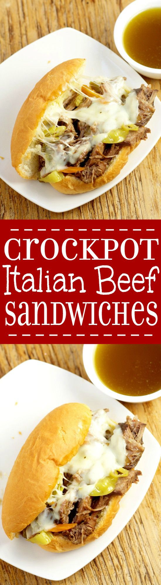 Just 5 ingredients to make your own classic, mouthwatering Crockpot Italian Beef Sandwiches recipe. Serve on French rolls with melted cheese for the full experience!  These are seriously amazing! Must try!