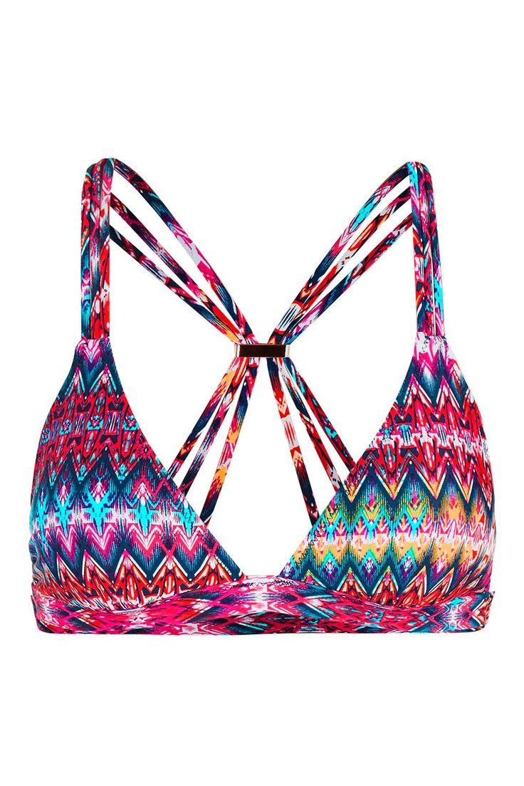 Bright Aztec Triangle Bikini Top - Topshop