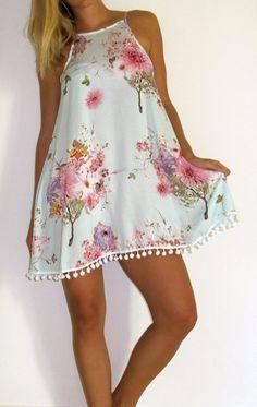 Vestido de las señoras Swing - Print Aqua Forest con flores de color rosa y blanco
