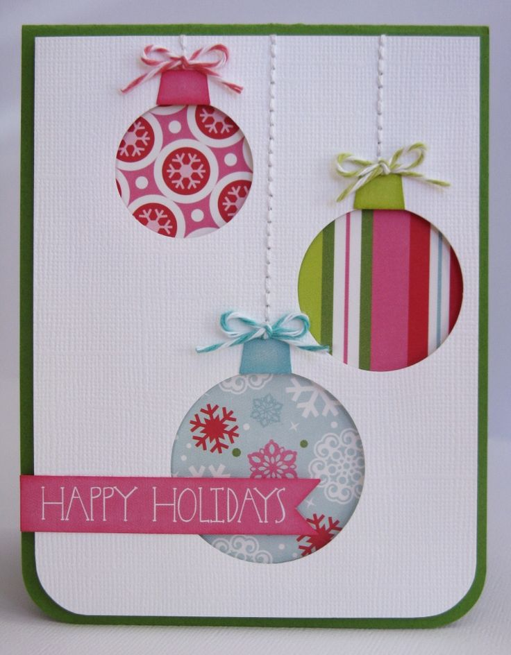 Echo Park Happy Holidays Ornament Card by Mendi Yoshikawa - Scrapbook.com