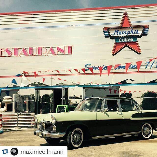 #picoftheweek Back in the 50's avec @maximeollmann ・・・ #memphiscoffee #memphiscoffeeludres #diner #usa #burger #voiture #année50'