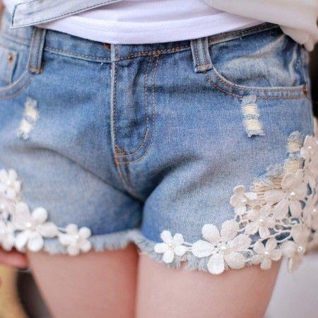 Lace jean short