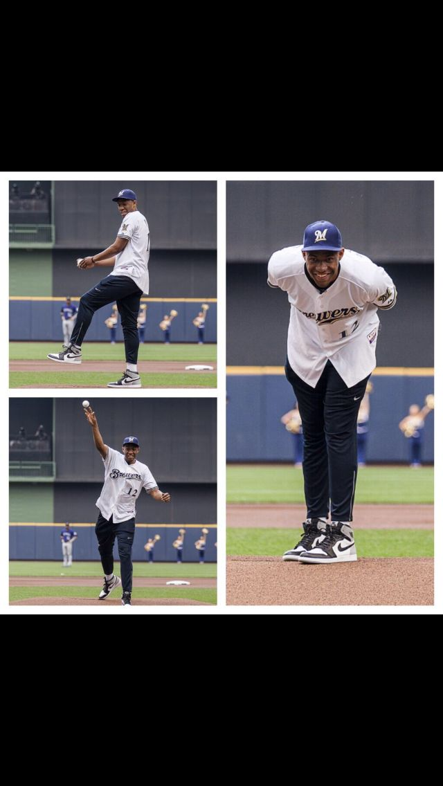 Jabari Parker throwing out the first pitch at the Brewers game