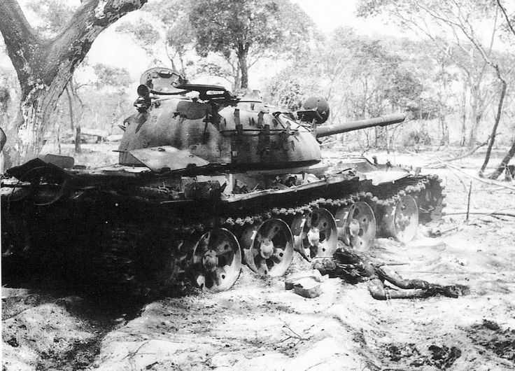 Destroyed FAPLA T-54 by South African Defence Forces. South African Bush War (1966 - 1988)